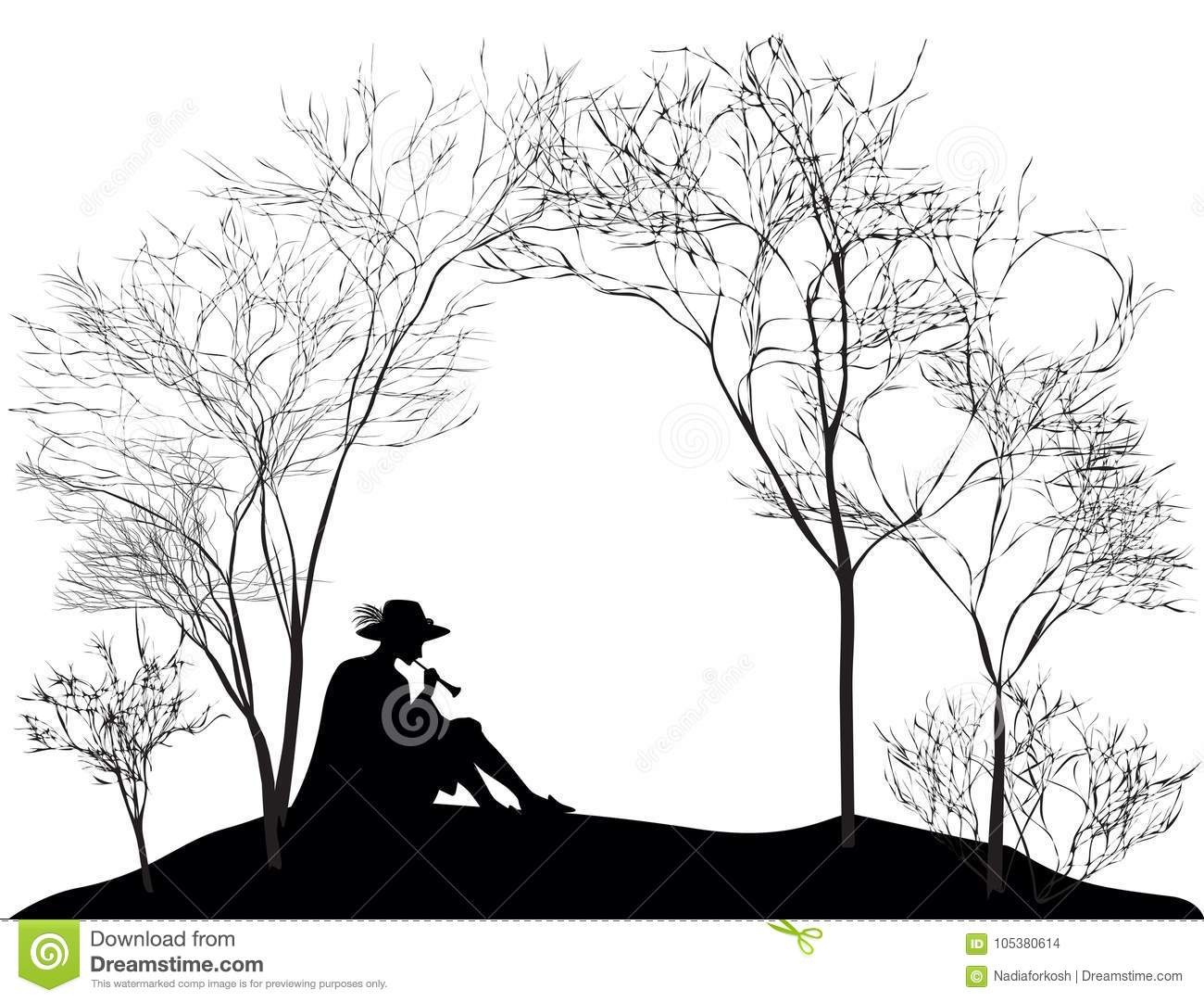 Spring melody, silhouette of the boy sitting on the hill lawn and playing on reed pipe, black and white,