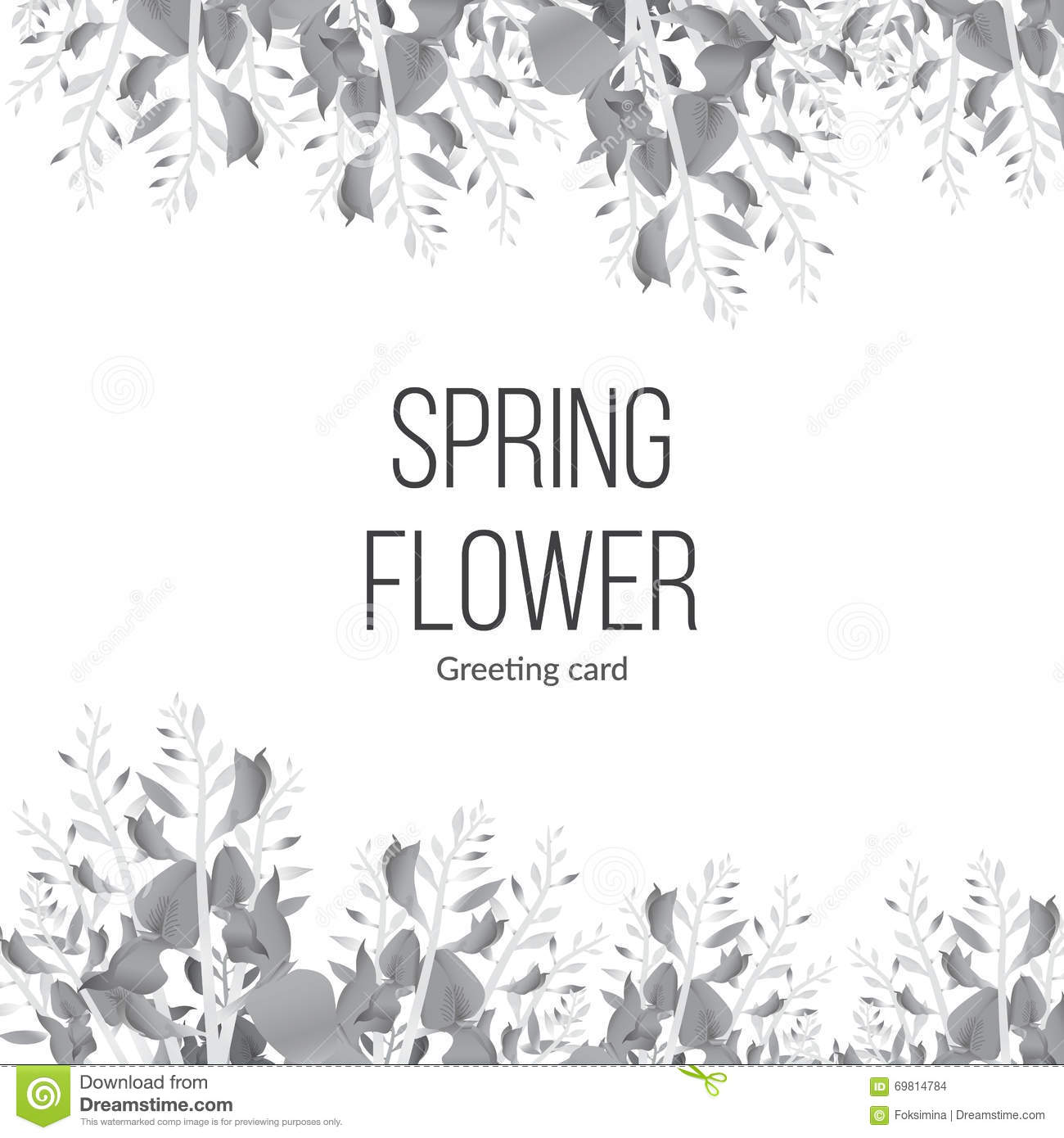 Spring Monochrome Background With Blooming Flowers And Place For