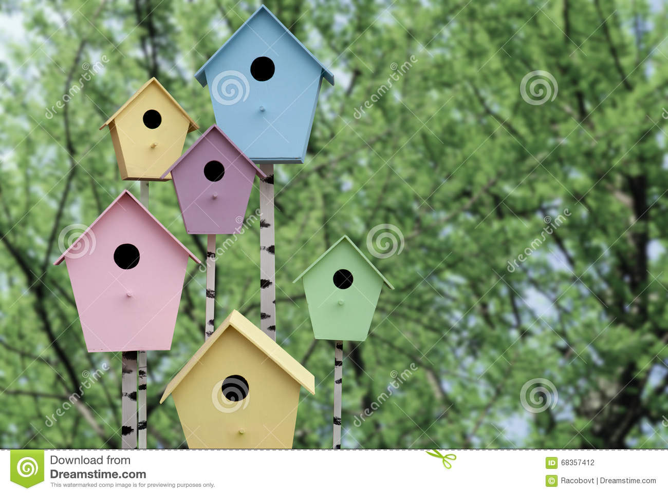 Spring Mood. Multi Colored Birdhouses Stock Photo - Image of wood ...