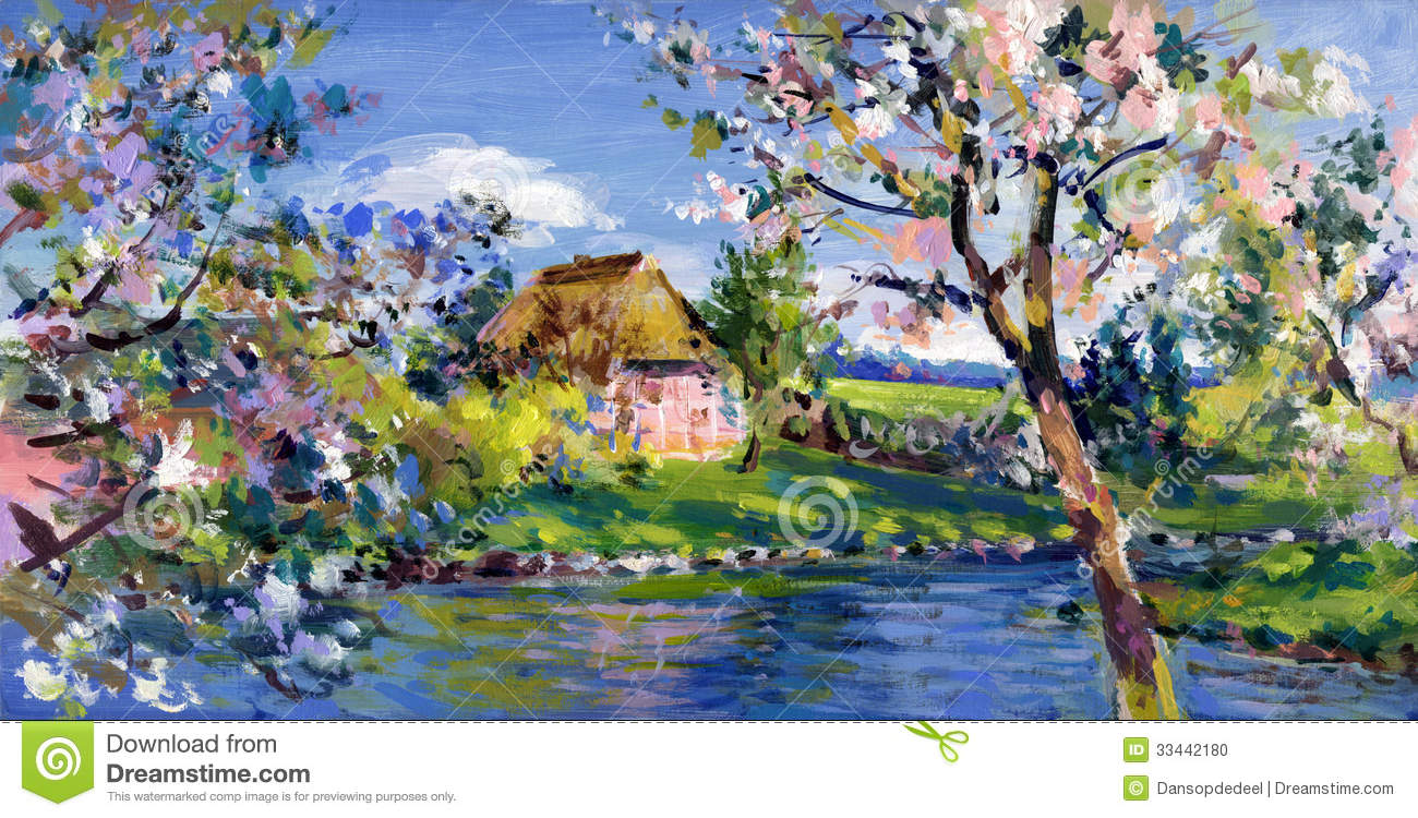 spring motif painting landscape -#main