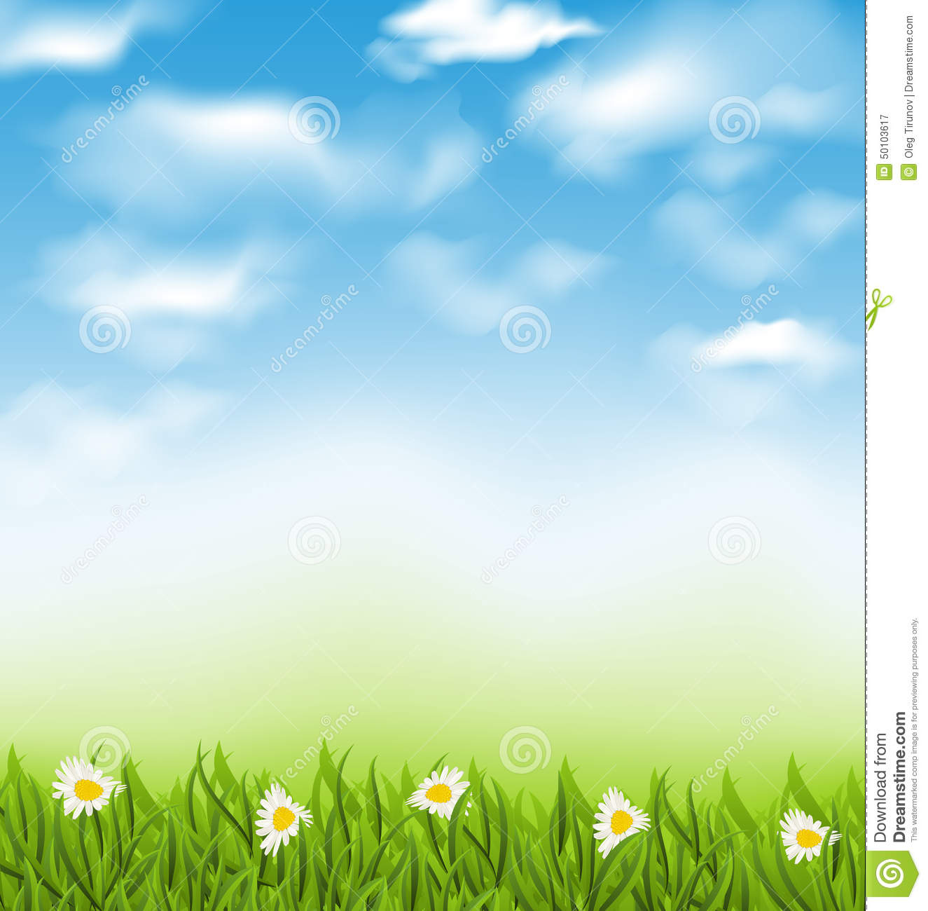 Spring Natural Background With Blue Sky, Clouds, Grass ...