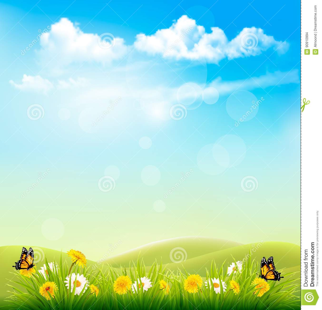 spring nature background with a green grass and blue sky stock