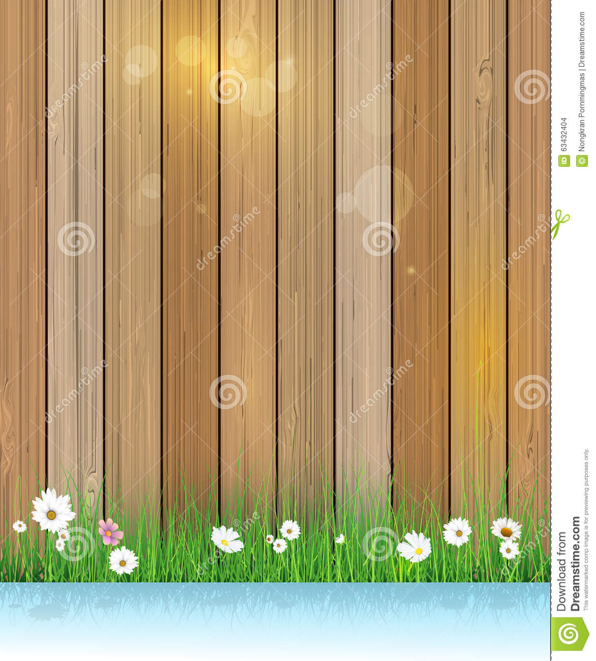 Spring Green Leaves And Flowers Background With Plants: Spring Nature Background. Green Grass And Leaf Plant Over