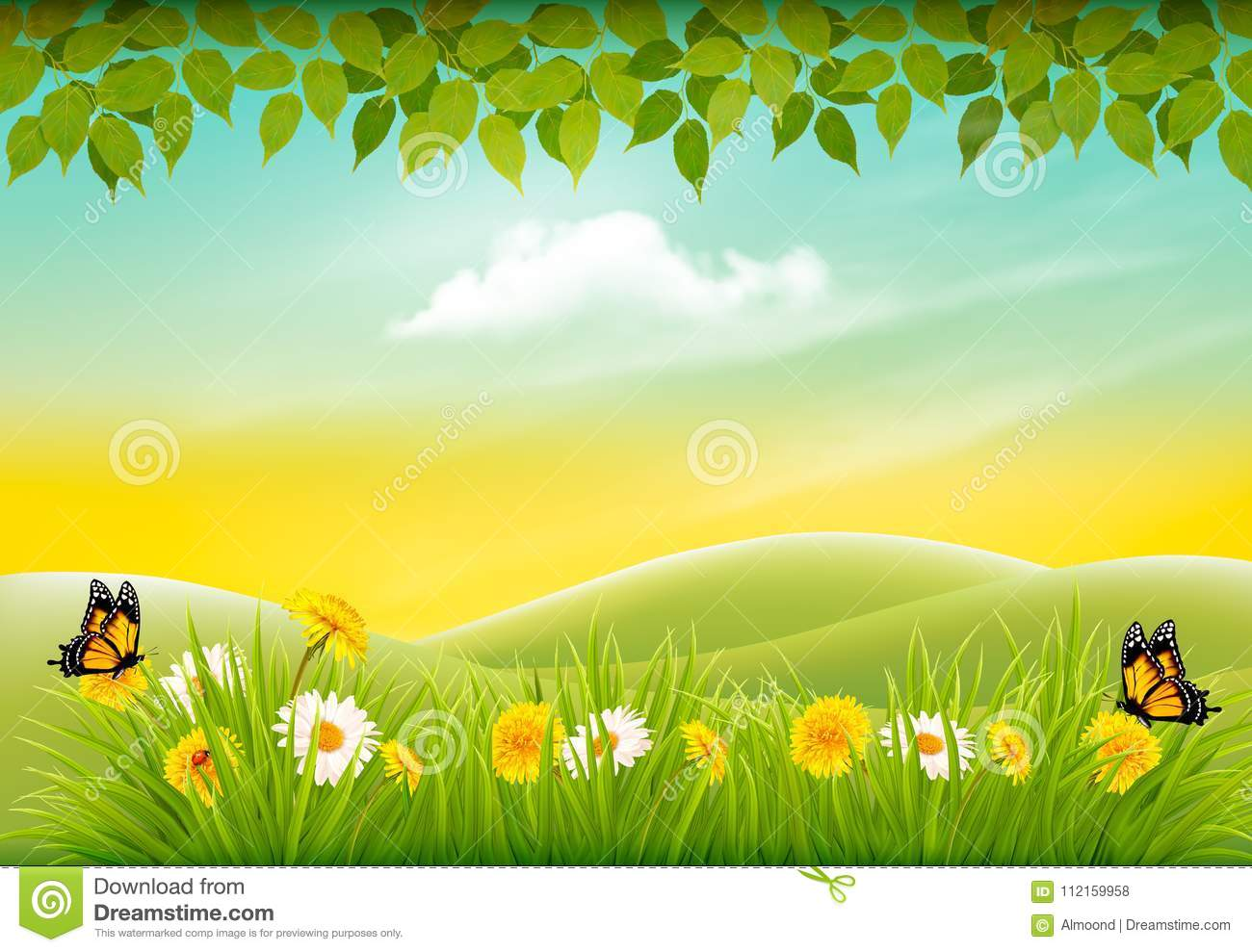 Spring nature landscape background with flowers and butterflies.