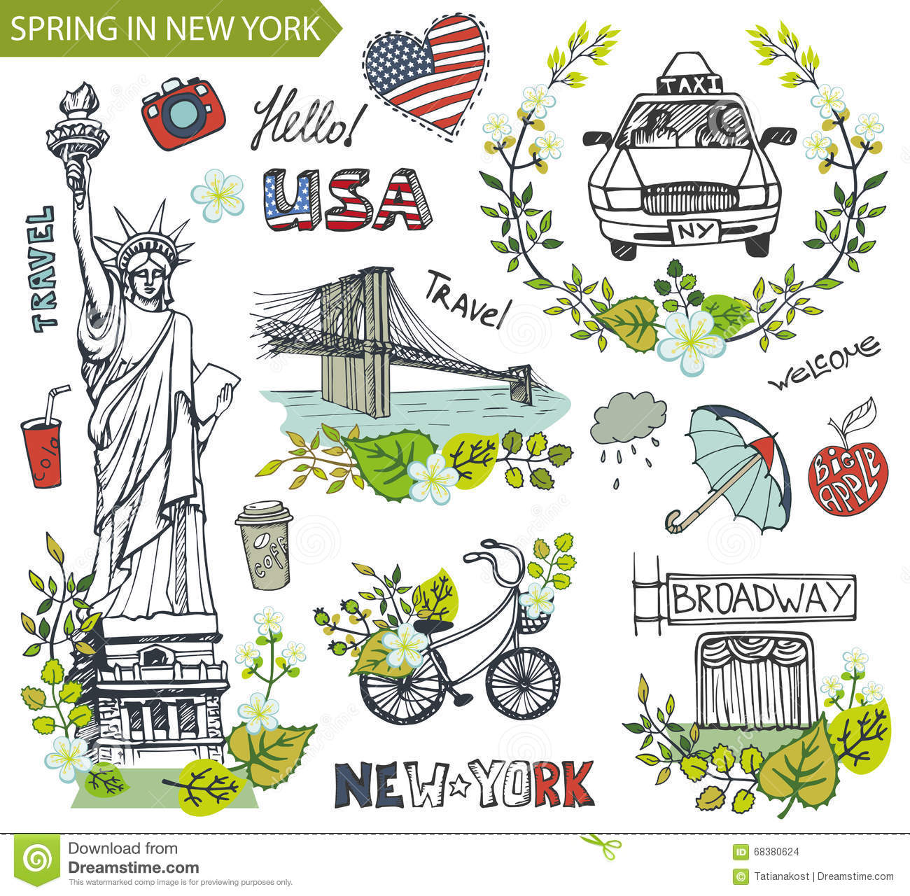 Spring In New Yorkfamous Landmarksfloral Decor Set Stock Vector