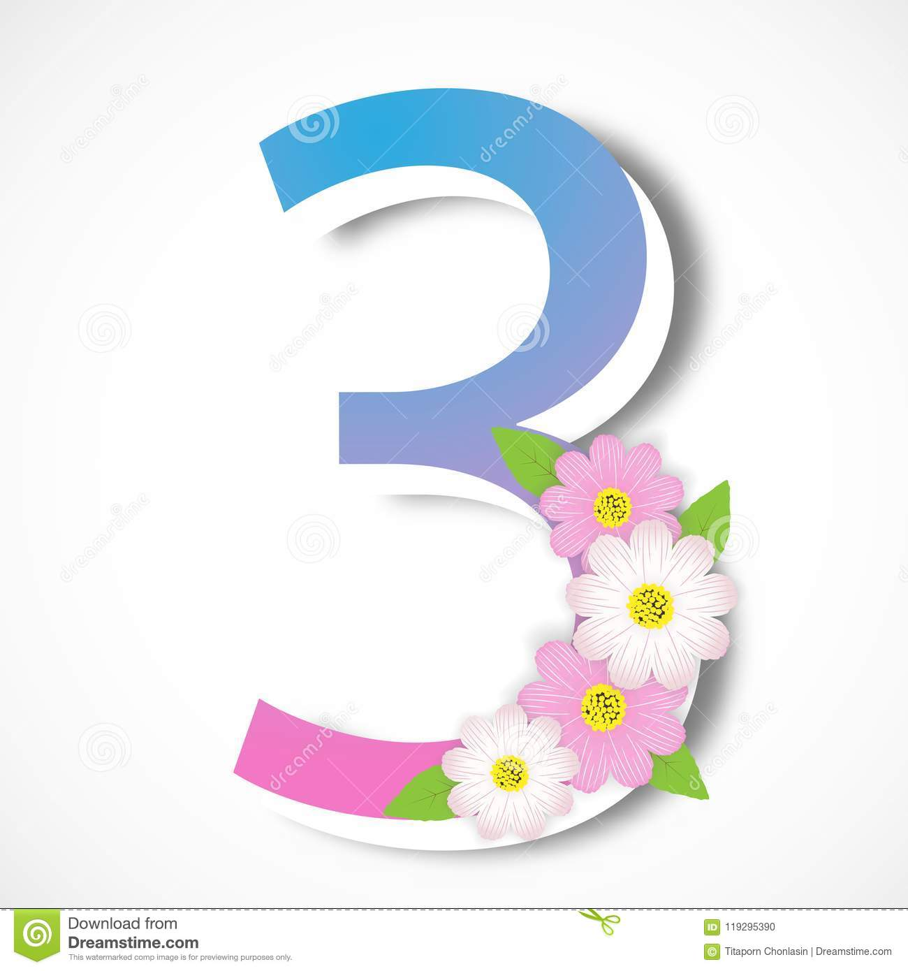 Spring number three with colorful flower vector illustration te spring number three with colorful flower vector illustration te maxwellsz