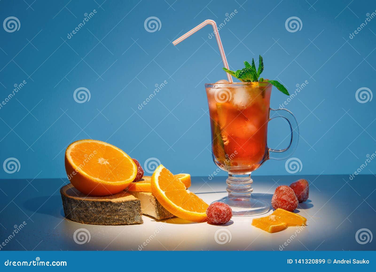 Spring orange cocktail. Tropical cocktail