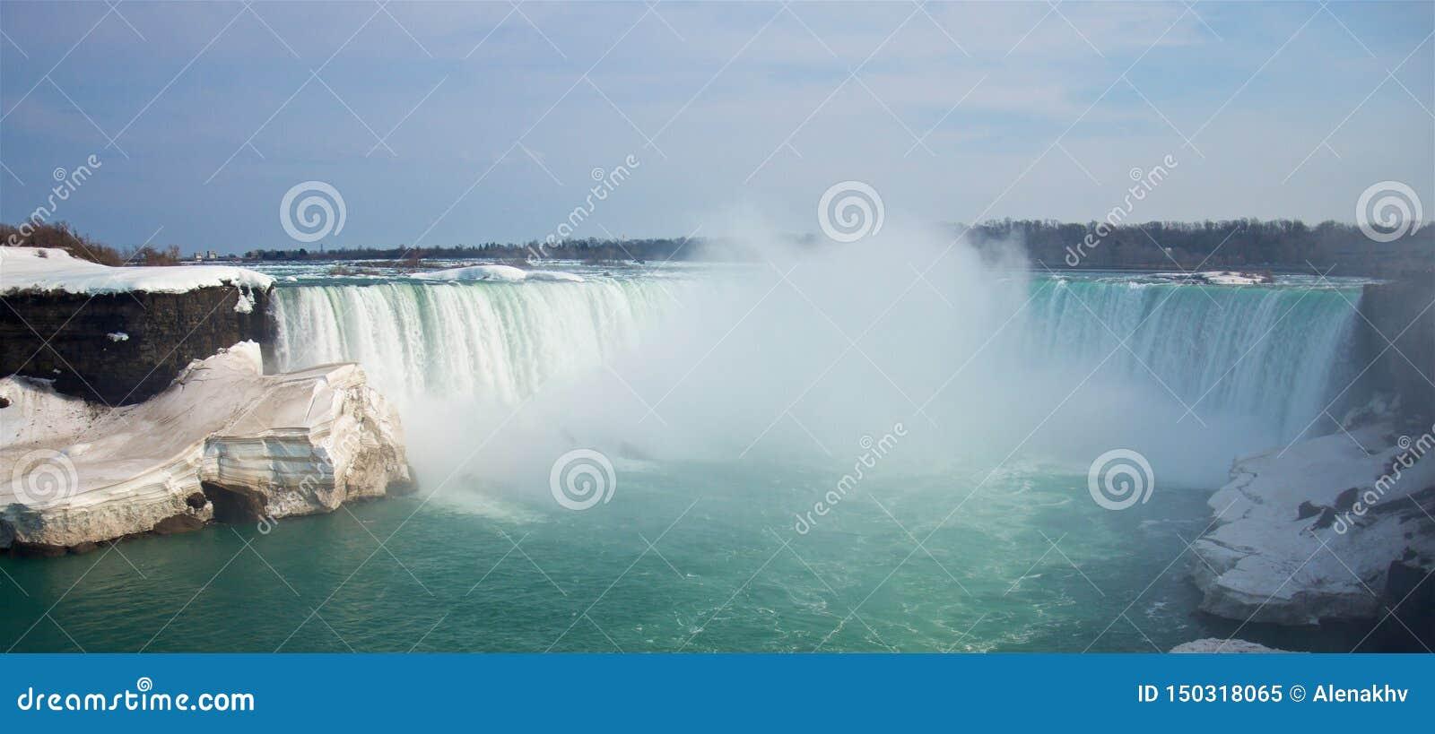 Spring panoramic view of the famous Niagara Falls Horseshoe Falls