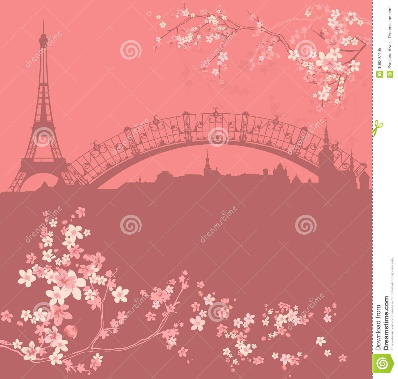 Spring Paris City Among Blooming Flowers Vector Stock Vector ...