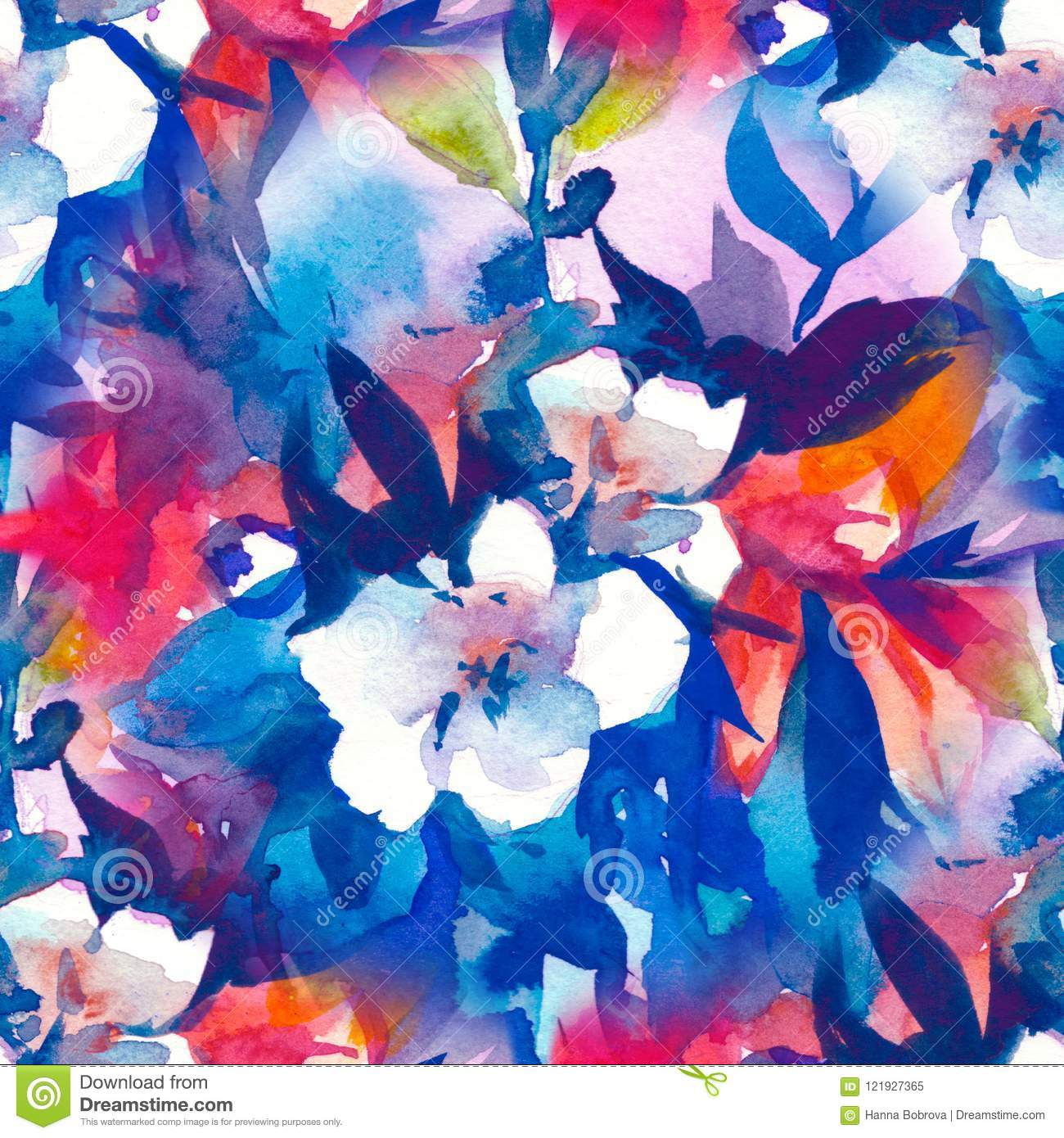 Watercolour Floral Seamless Pattern Delicate Flowers Yellow Blue