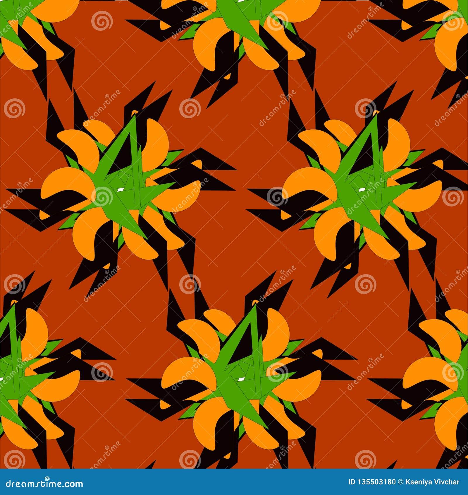 Spring pattern on orange background