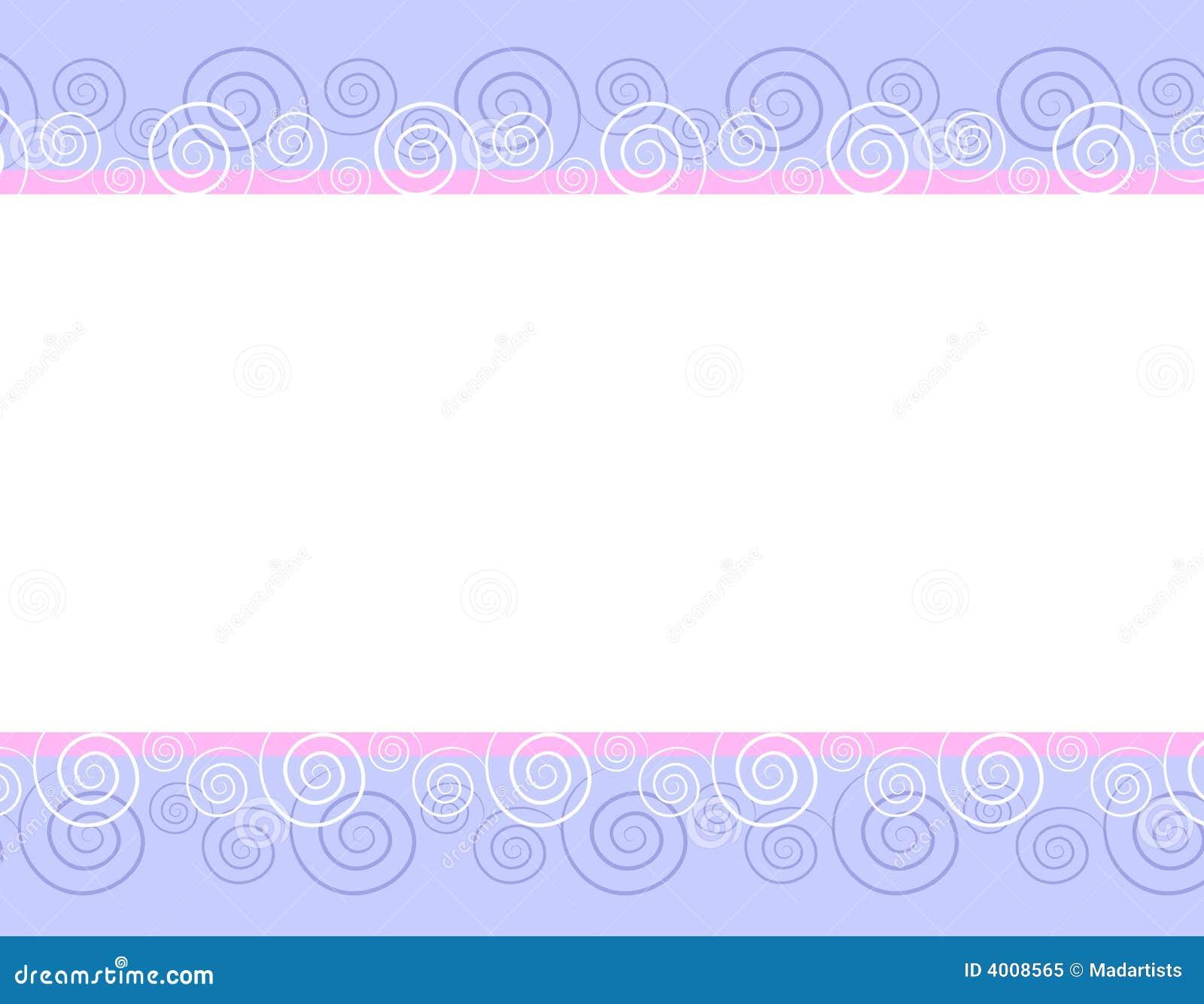 Spring Pink Blue Swirls Border Background
