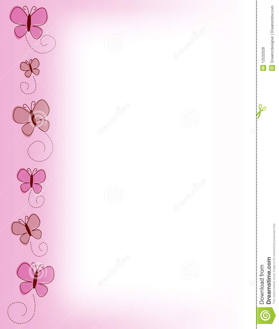 spring pink butterfly border stock illustration