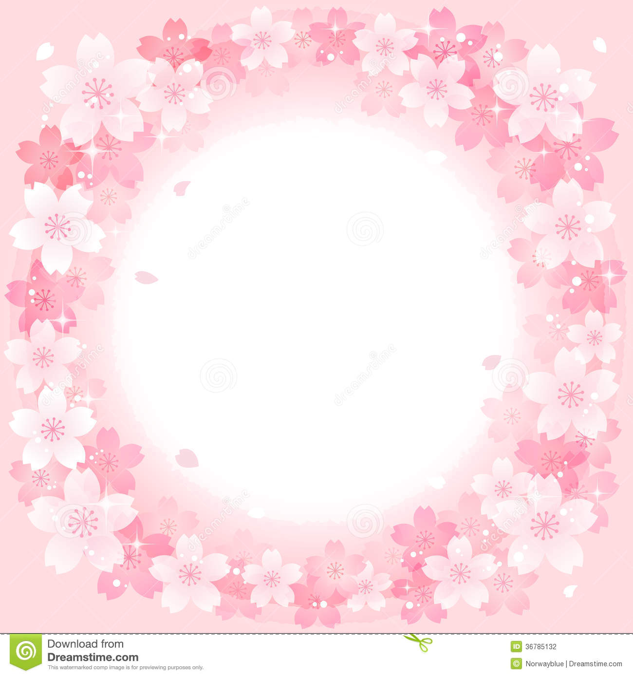 Spring Pink Cherry Blossoms Circle Background Stock