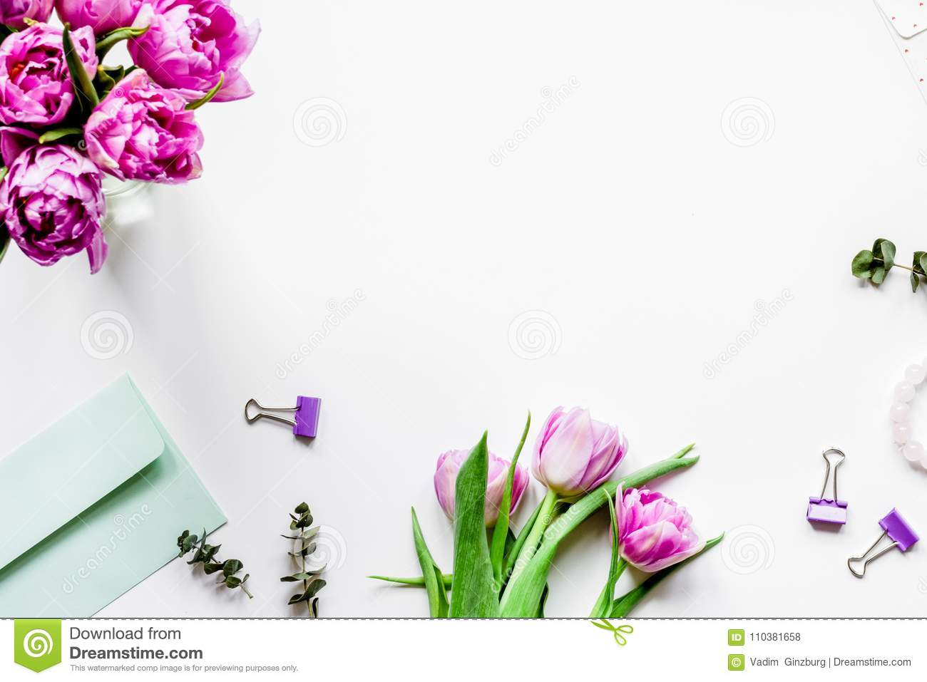 Spring flowers on workdesk at home white background top view moc download comp mightylinksfo