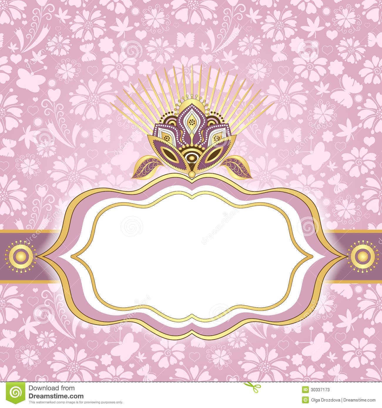 Spring Pink Gold Easter Frame Stock Vector Illustration Of Curl