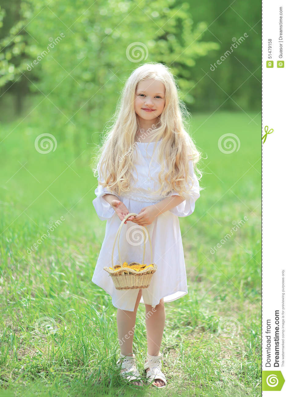 Spring Portrait Of Cute Little Girl In White Dress Stock Photo ...