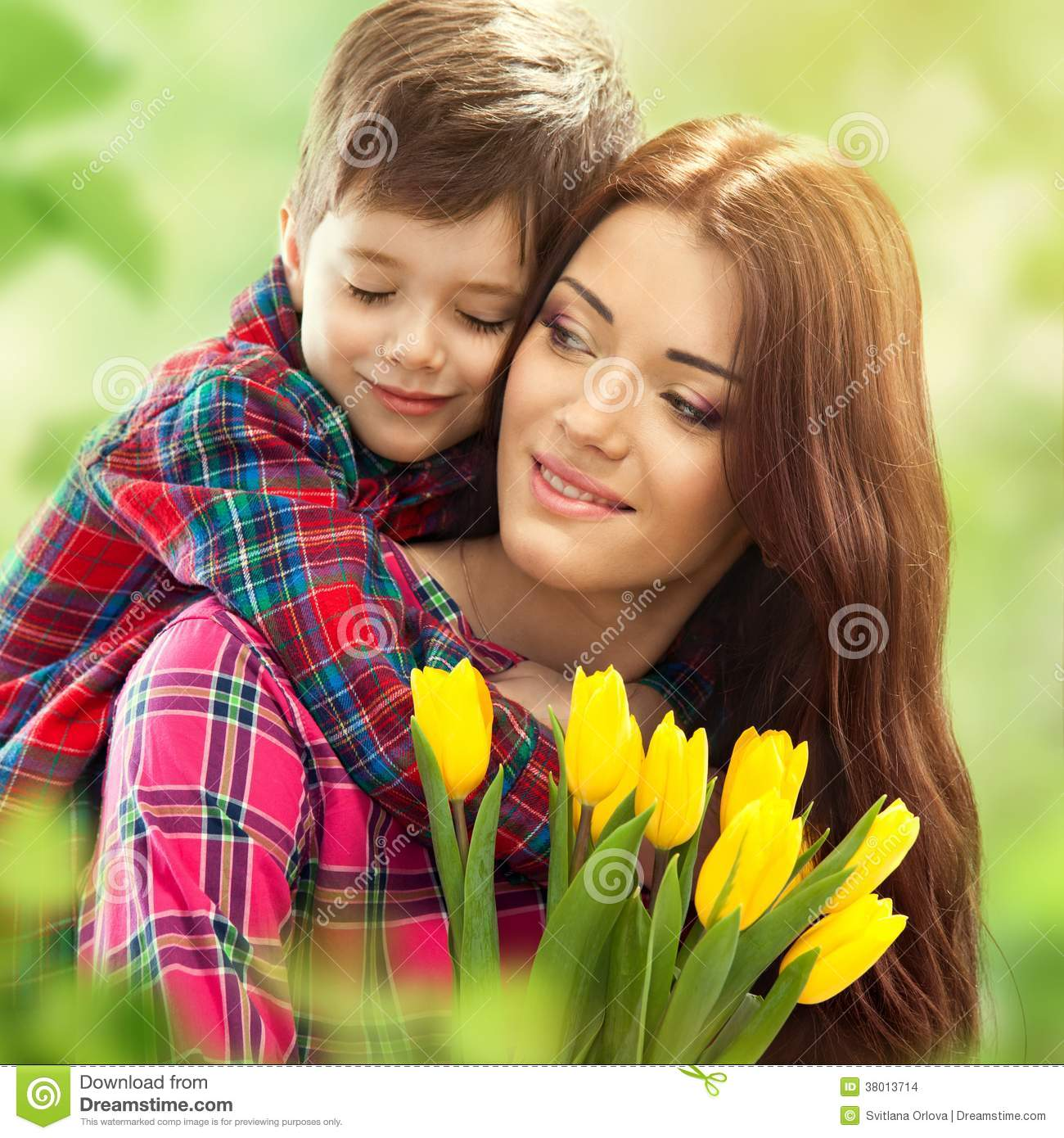Spring portrait of mother and son on Mother s Day