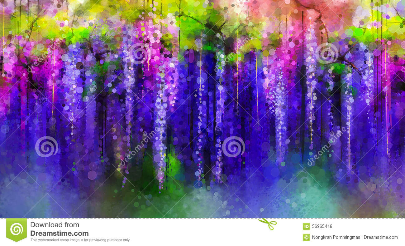 Wisteria Flower Tunnel Spring Purple Flowers Wisteria Watercolor Painting Stock