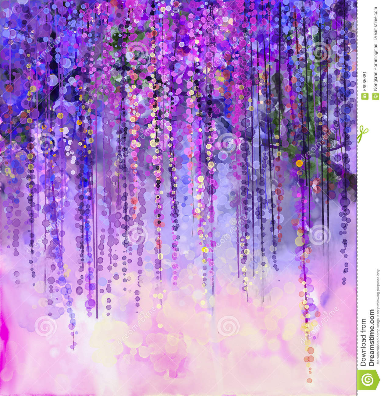Spring purple flowers wisteria watercolor painting stock for Purple and yellow painting