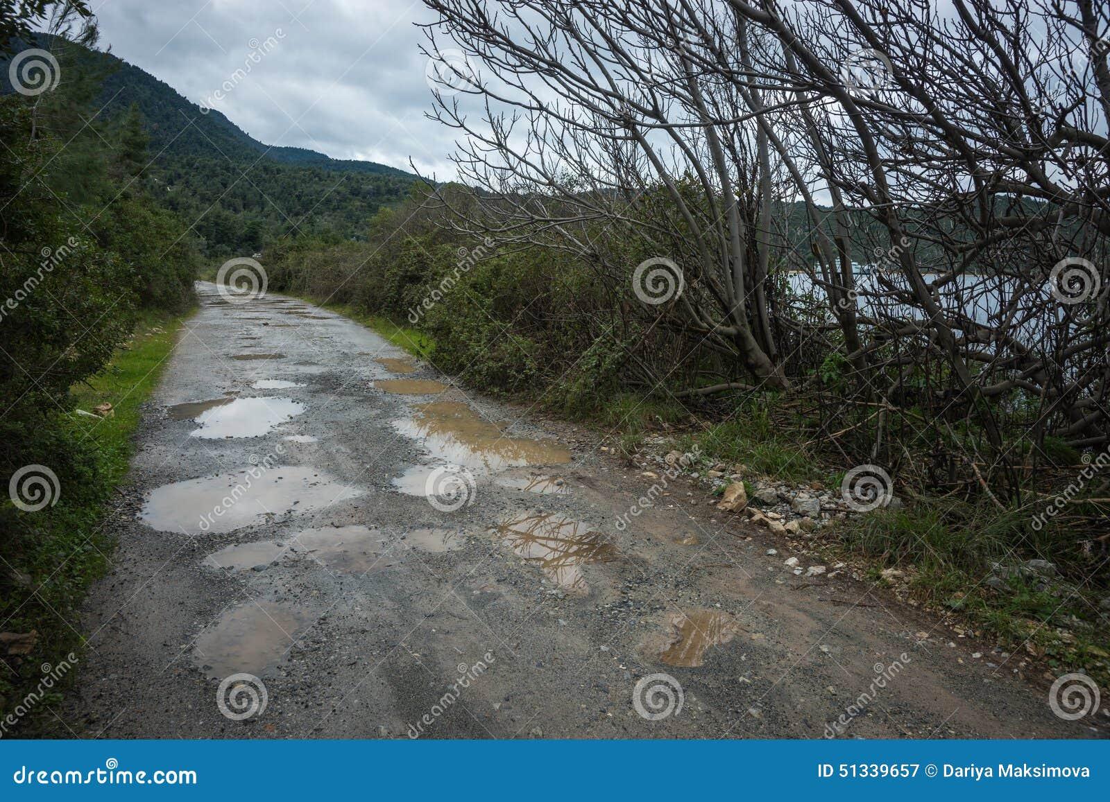 Spring roads after heavy rain Rain