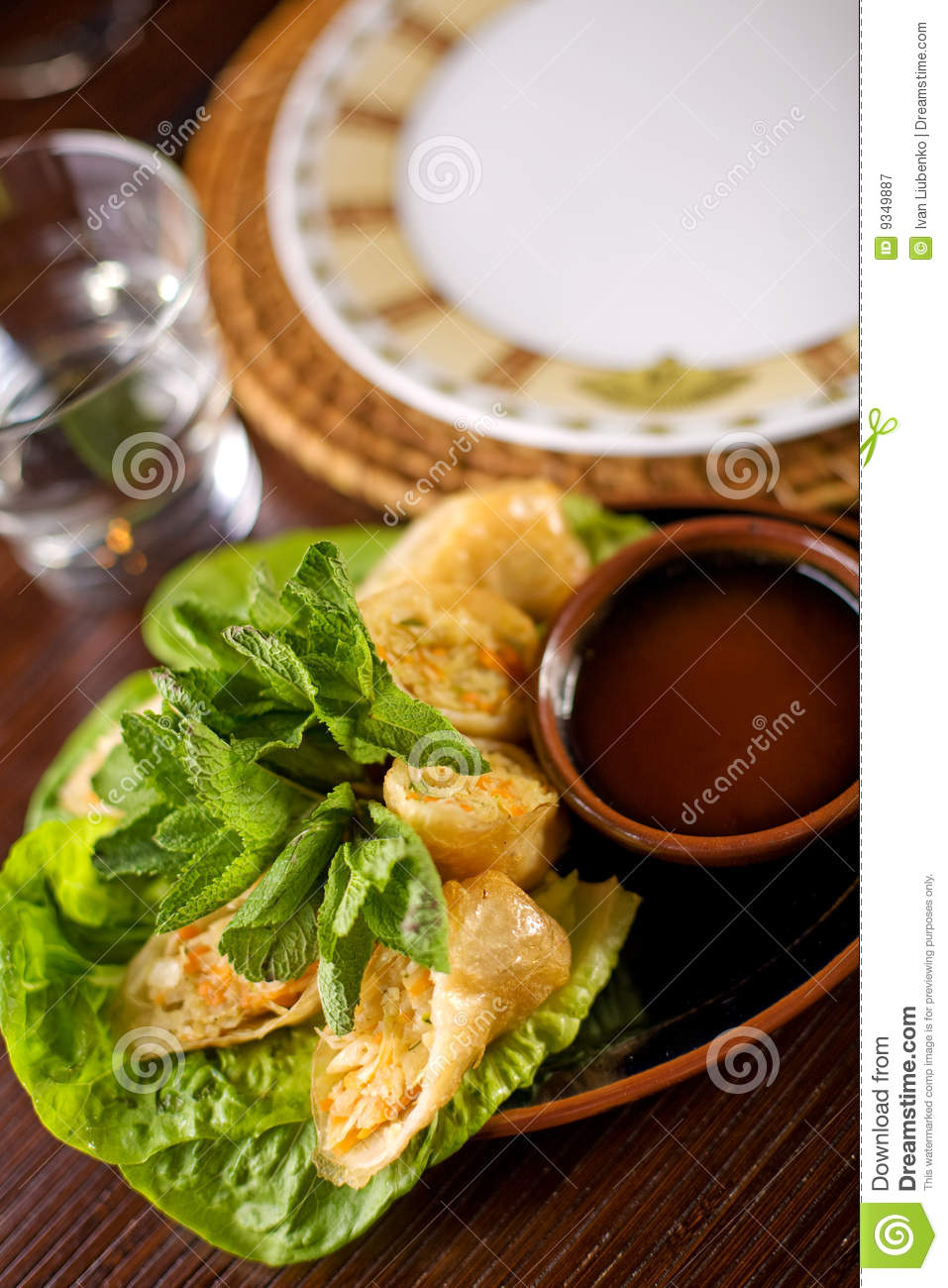 Spring rolls traditional with sauce royalty free stock for Appetizer chinese cuisine