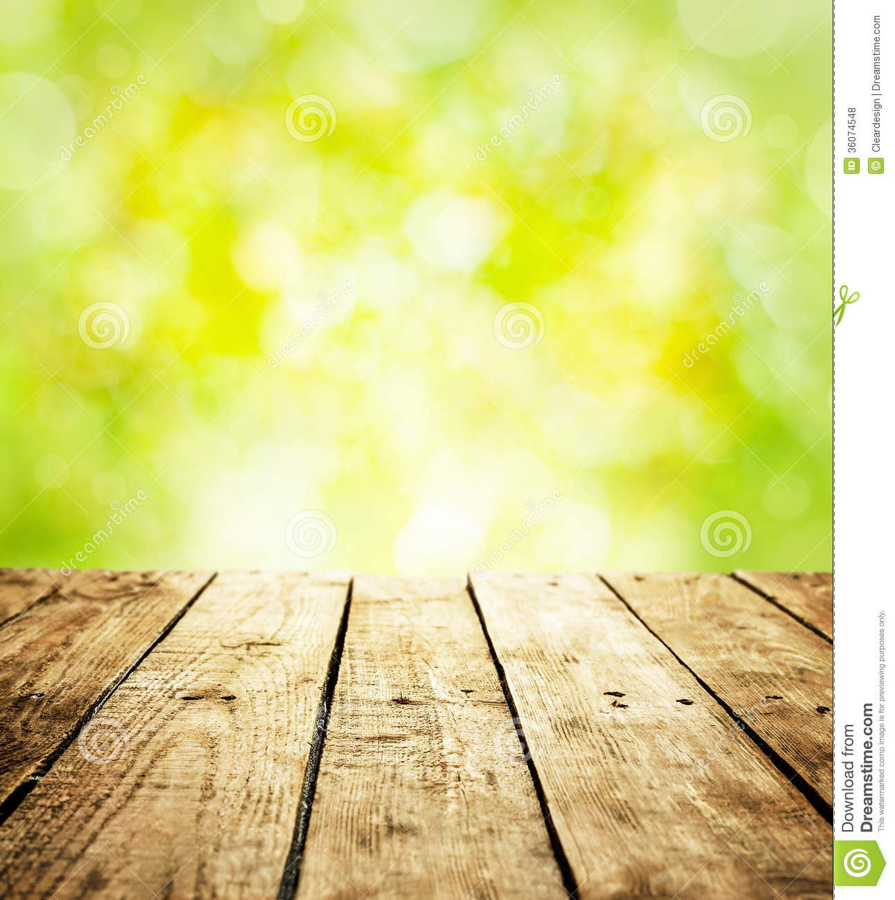 Spring rustic template background with wooden table and text space