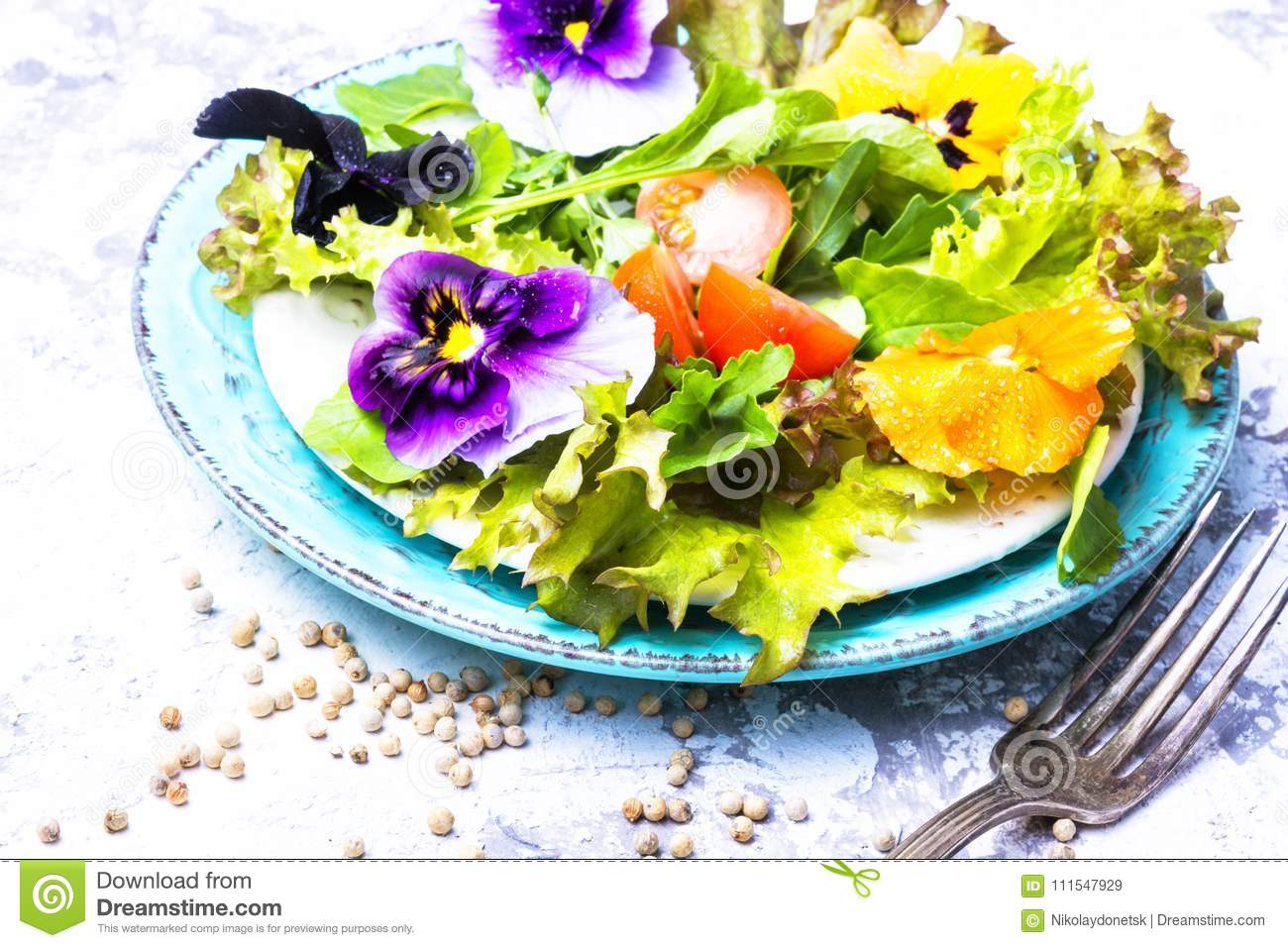 Spring flowers salad stock image image of eatable green 111547929 spring salad with edible flowers and herbsean foodtox mightylinksfo