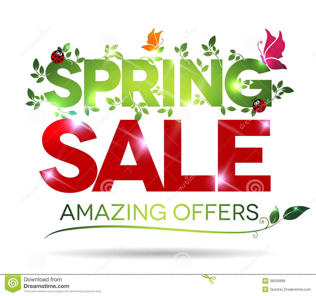 Spring Sale: Spring Sale, Amazing Offers Message Royalty Free Stock