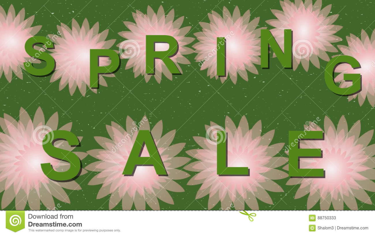 Spring Sale Animated Banner With Beautiful Pink Flowers On Green