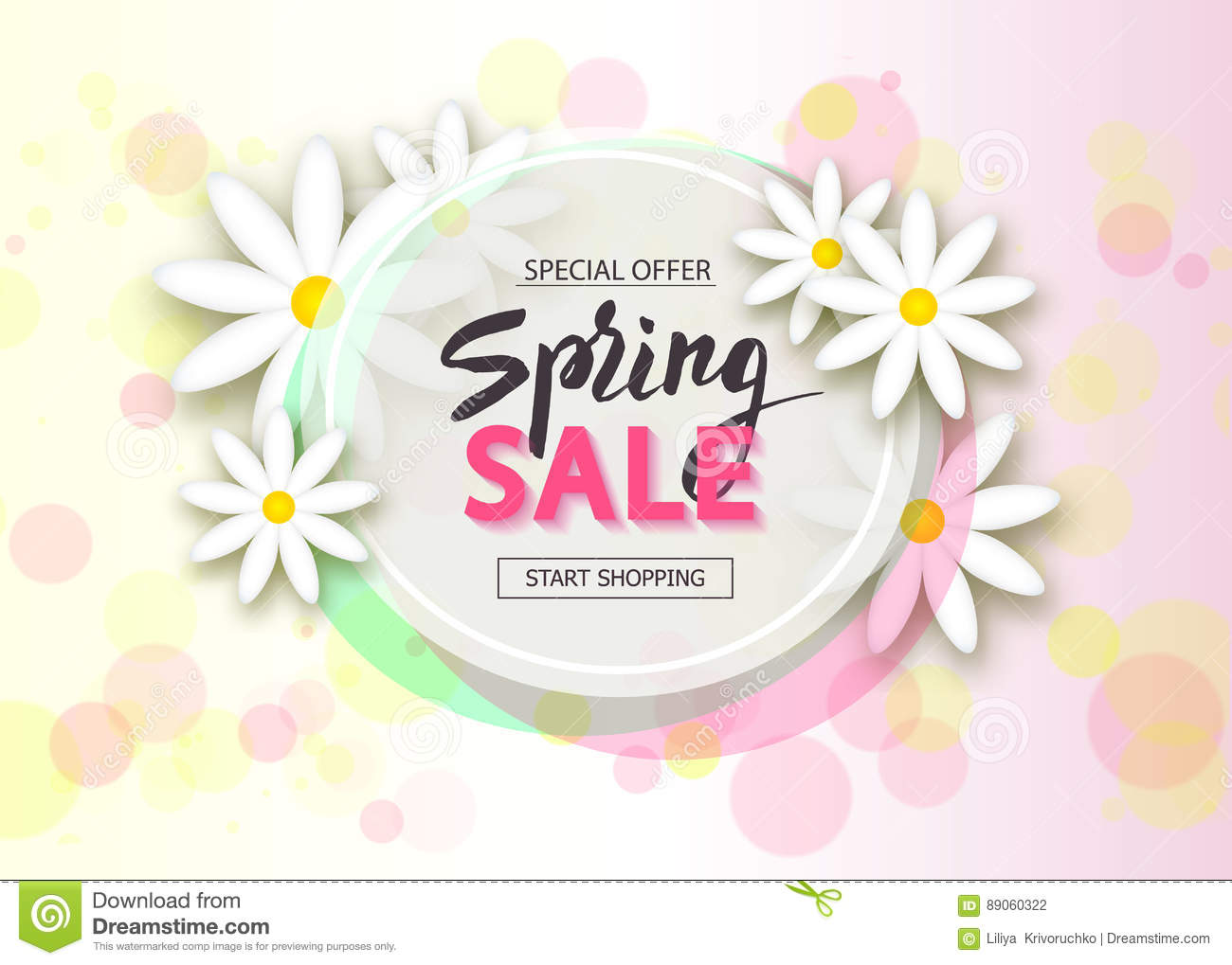 Spring Sale Background With Flowers Season Discount Banner Vector Illustration Template Wallpaper Flyers Invitation Posters Brochure