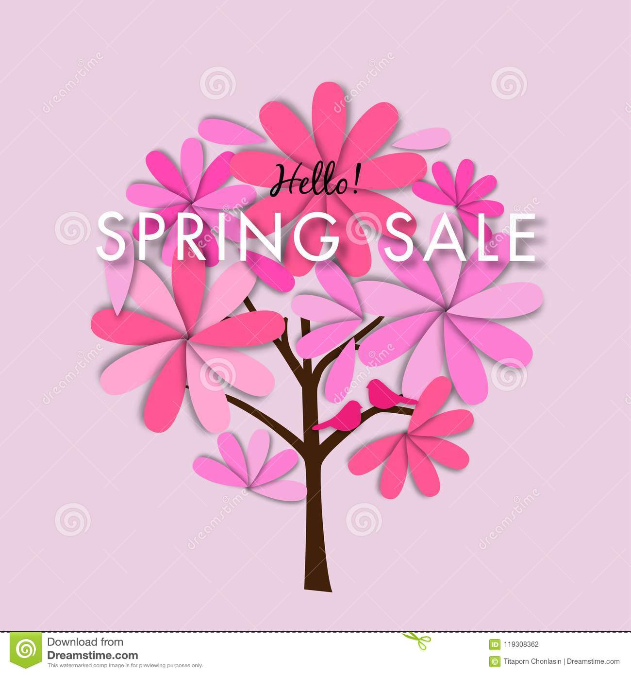 Spring sale background with green leave, vector illustration template