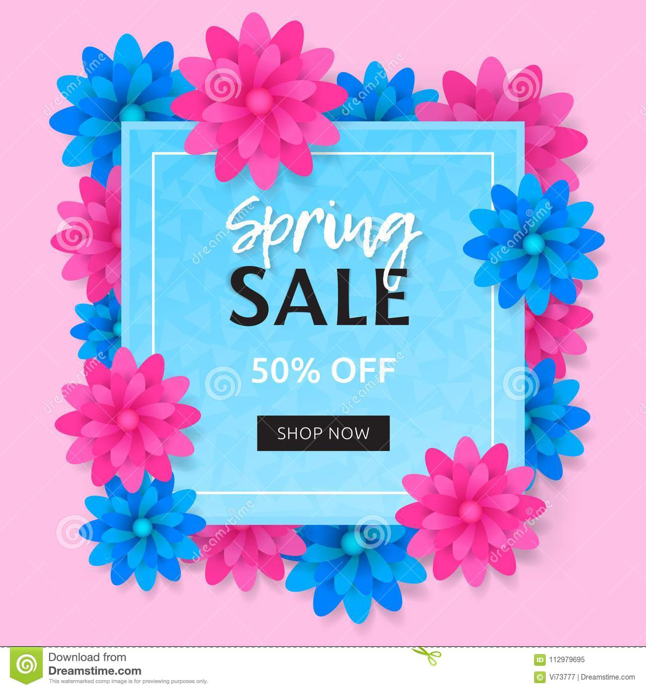 Spring sale banner with blue and pink flower. Trendy vector design of poster or discount card.