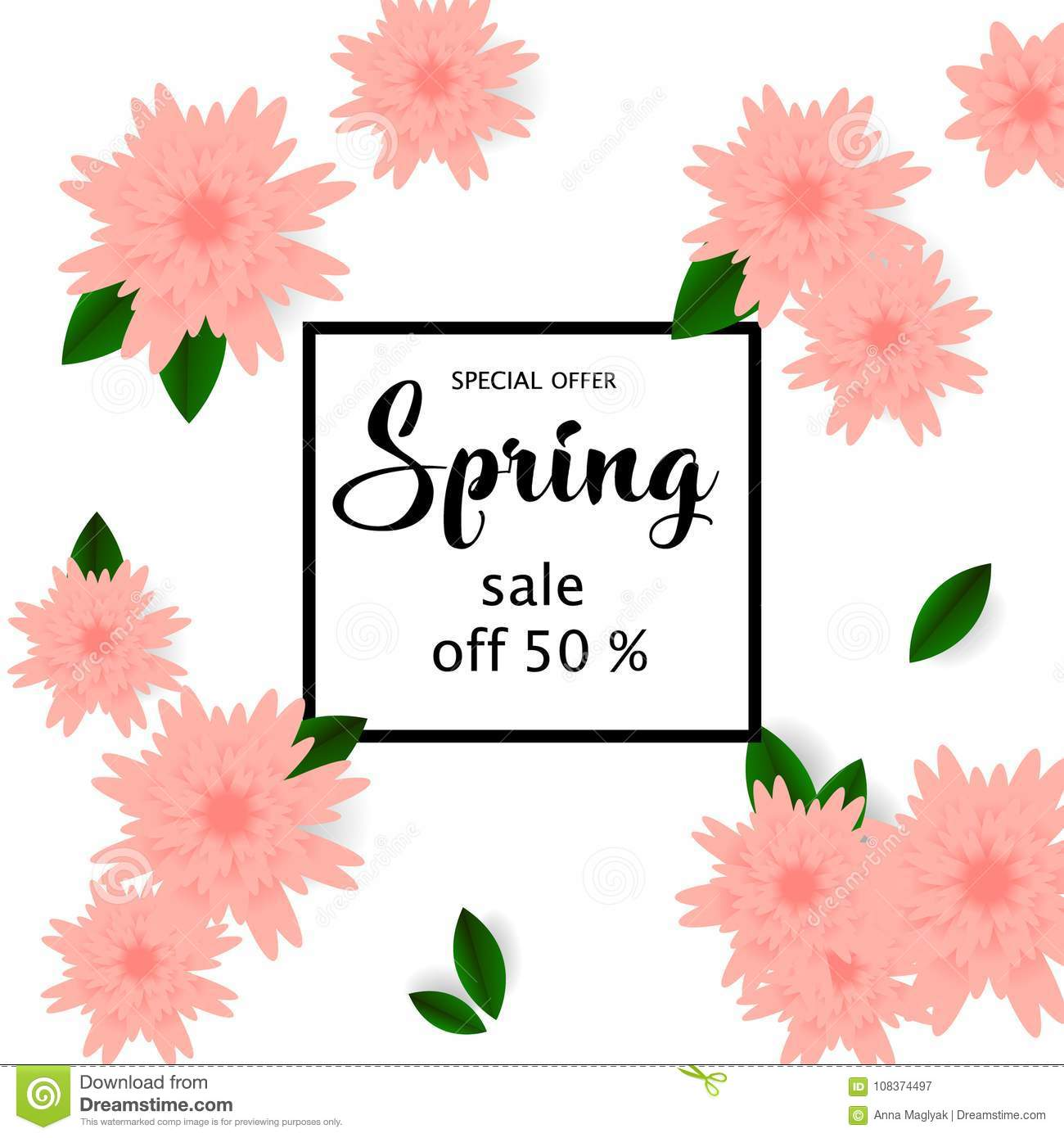 Spring sale banner with paper flowers for online shopping download spring sale banner with paper flowers for online shopping advertising actions magazines and mightylinksfo
