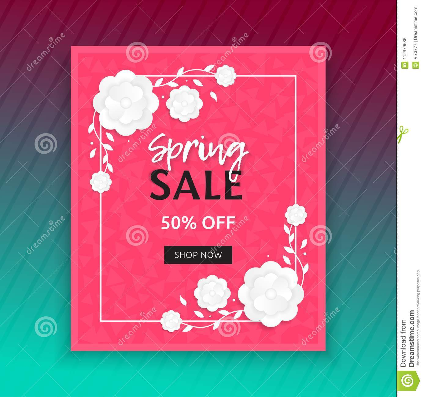 Spring sale banner with white flower. Modern vector design of poster or discount card.