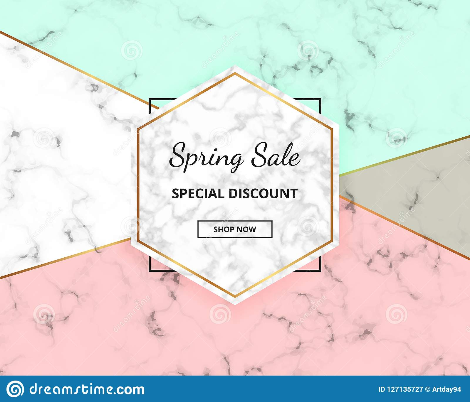 Spring sale cover geometric design with marble texture and gold glitter lines, green and pink colors background. Template for desi