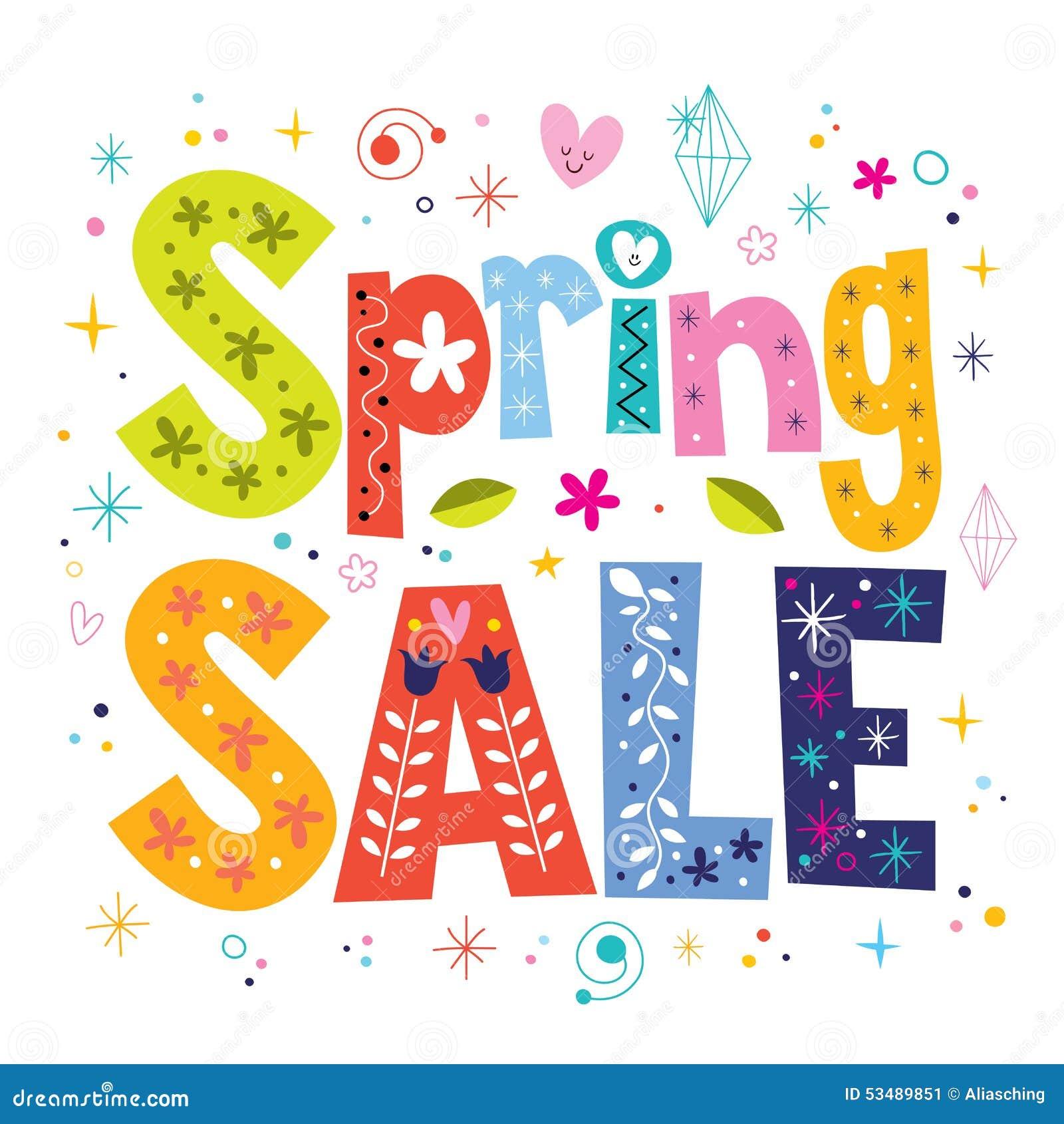 spring sale decorative lettering type design stock image