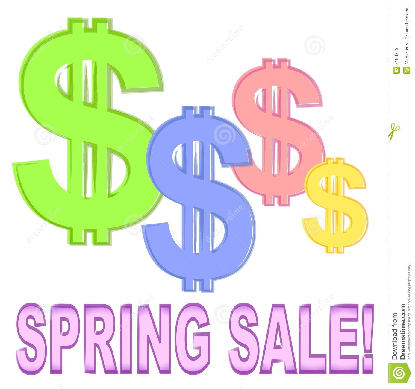 Spring Sale: Spring Sale With Dollar Signs Stock Vector