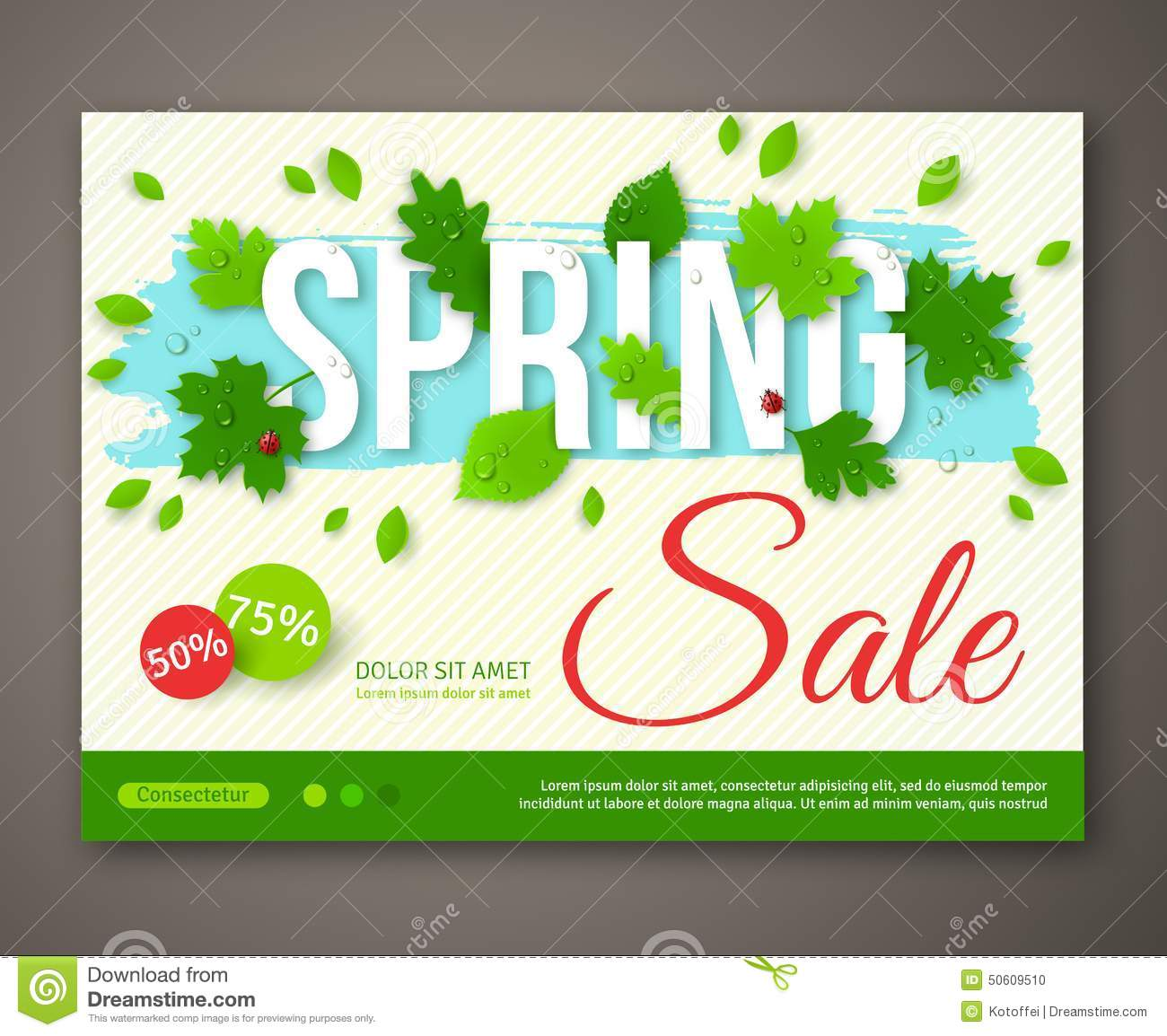 Spring Sale flyer design with green leaves. Vector illustration. Place ...