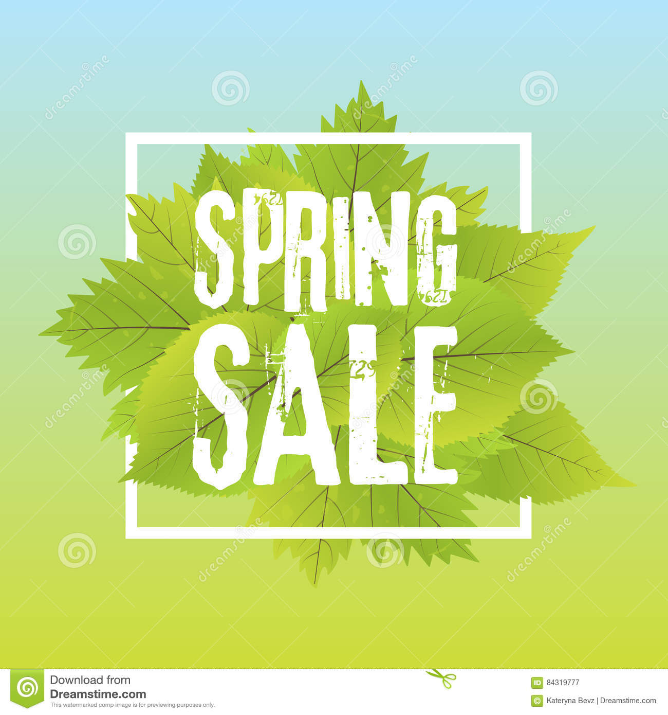 Spring Sale: Spring Sale Poster With Green Leaf. Vector Banner Template