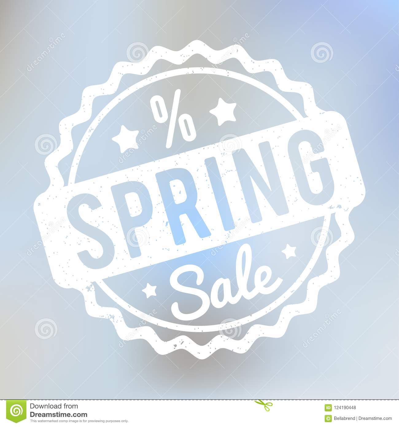 Spring Sale rubber stamp white on a lila bokeh background.