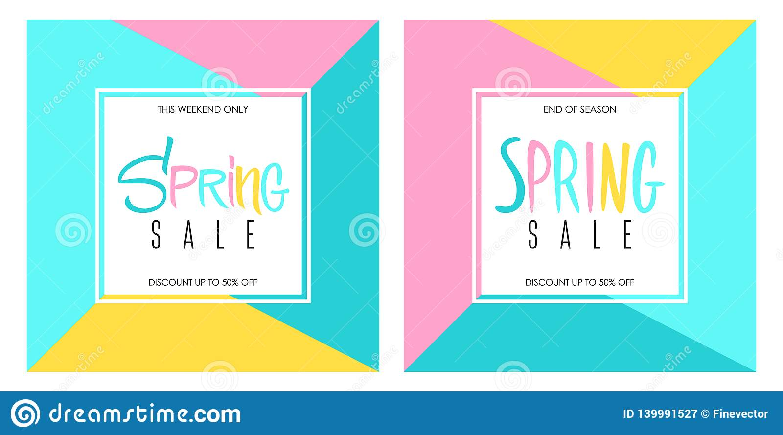 77d1d553fda Illustration  Spring Sale Special Offer Banners Set With Hand Lettering For  Springtime Shopping