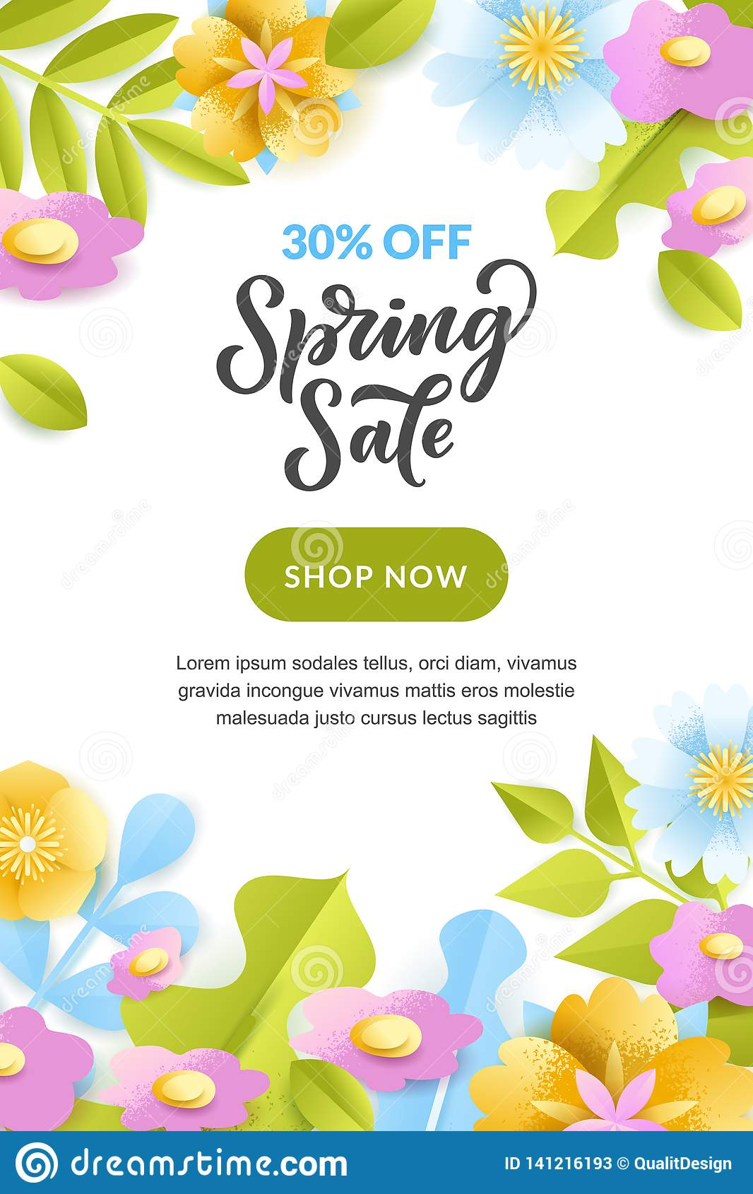 Spring Sale Poster Banner Vector Holiday Greeting Card Design