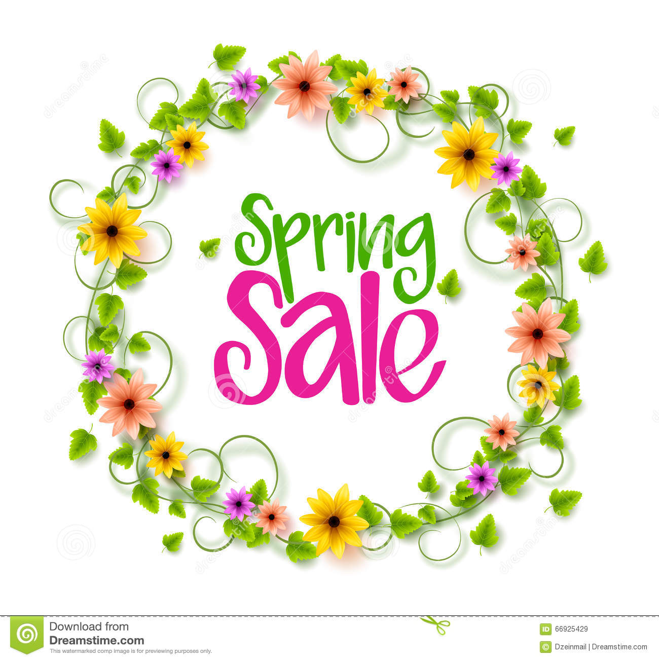 Spring sale wreath of colorful realistic vector flowers and vines spring sale wreath of colorful realistic vector flowers and vines mightylinksfo