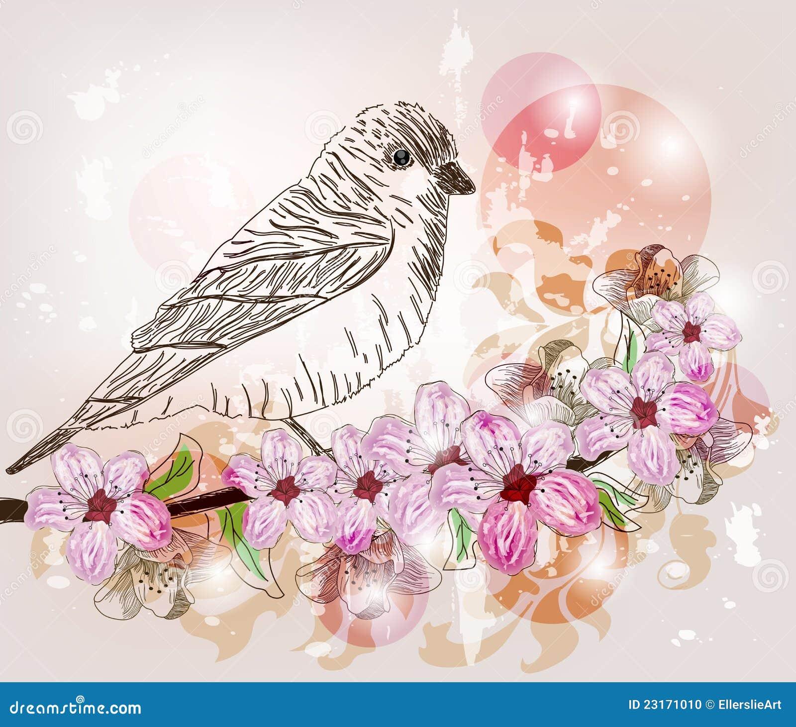 spring scene with hand drawn bird stock vector