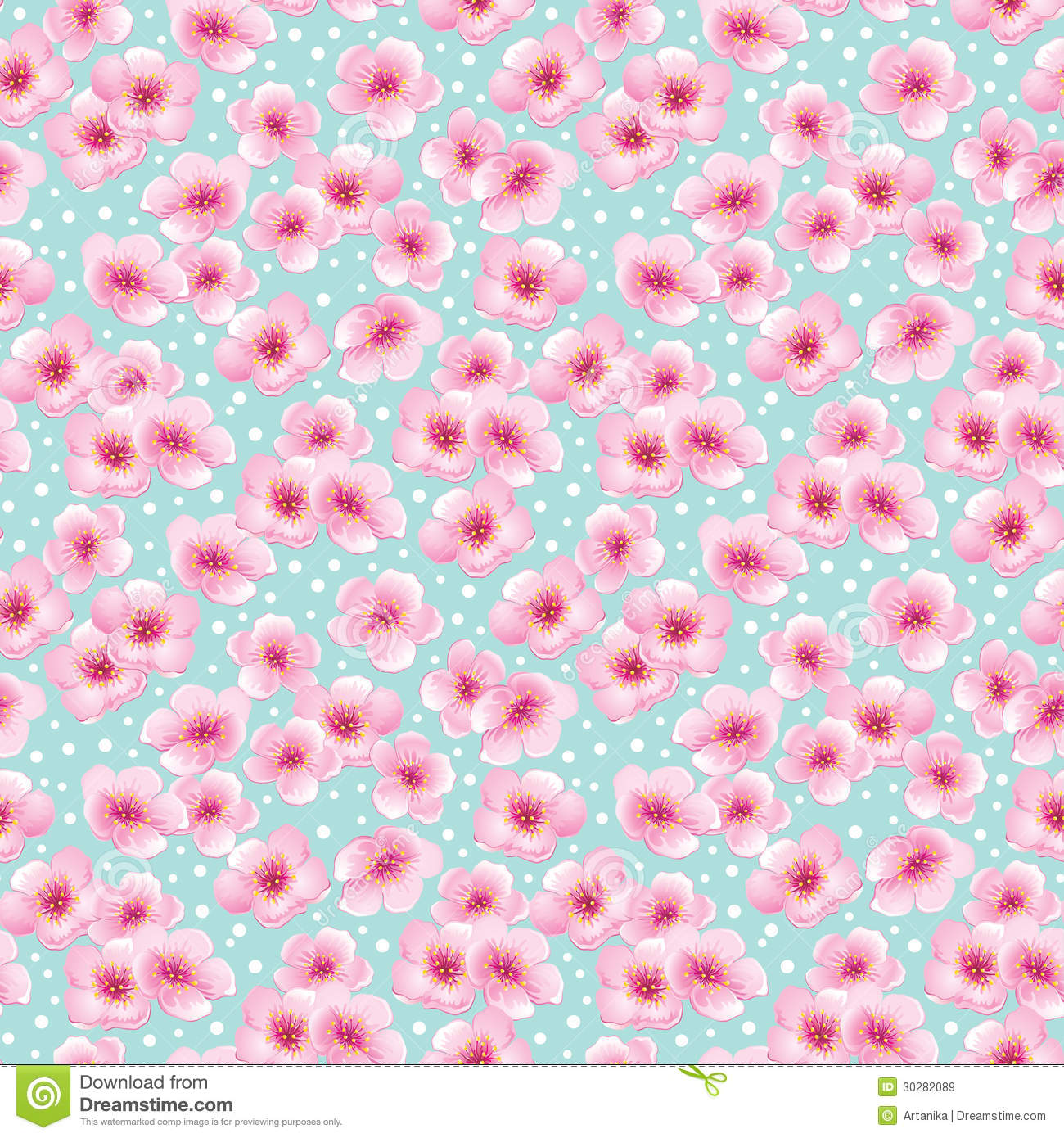Muted Blue And Floral Red: Spring Seamless Pattern With Blossom Flowers Royalty Free