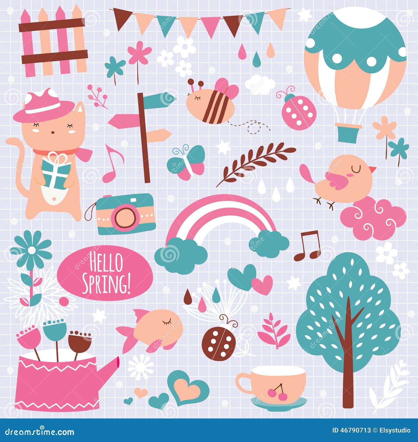 Spring season clip art elements