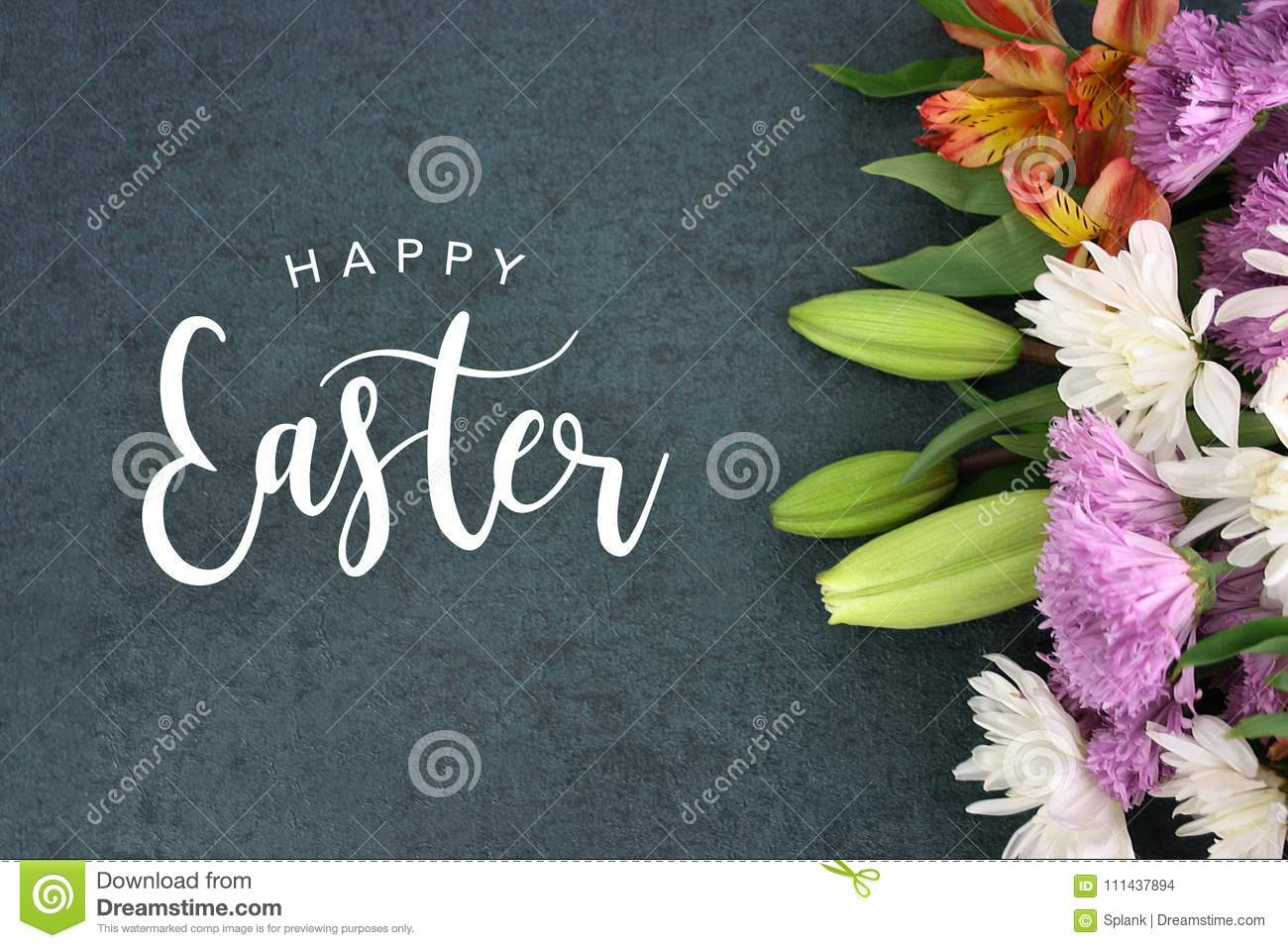 Happy Easter holiday script text over dark background texture and flowers