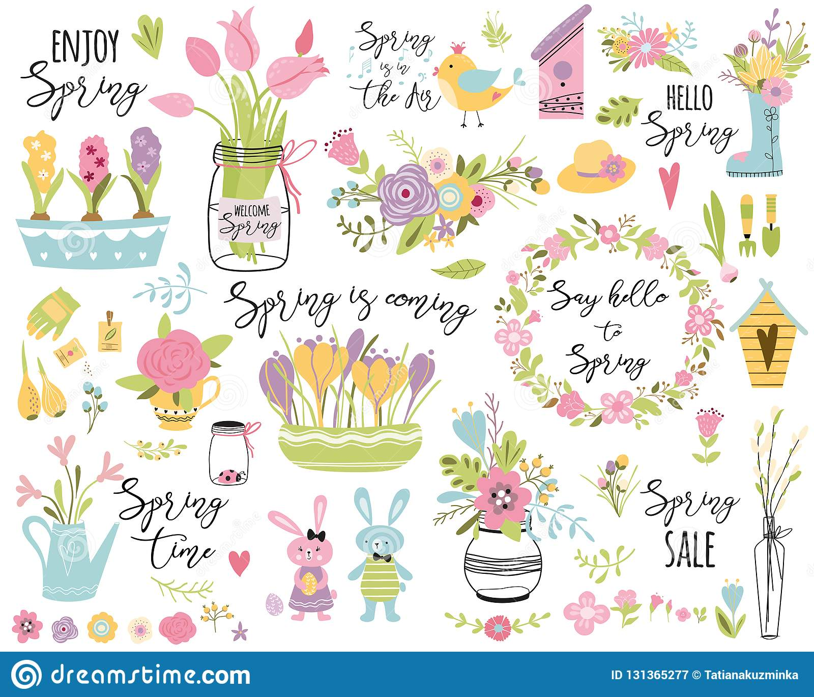 Spring Set Hand Drawn Elements Flowers Bird Wreaths Rabbit Here