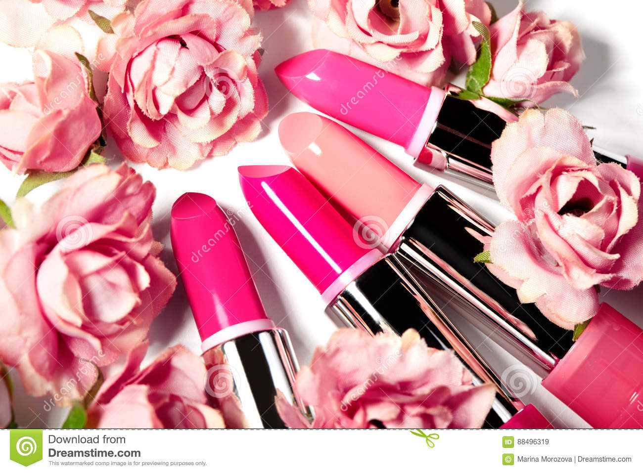 Spring Set Of Lipsticks In Pink Flowers Beauty Cosmetic Collection